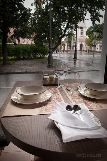 view of table in window at Taverna Grolle, restaurant, St Petersburg